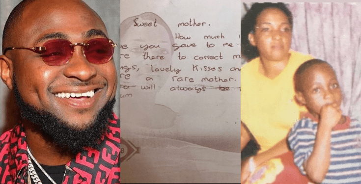 Davido Shares Beautiful Old Letter He Wrote For His Late Mother - Dnewz
