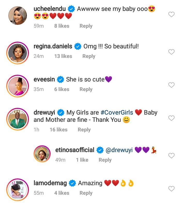 Etinosa unveils her baby's face