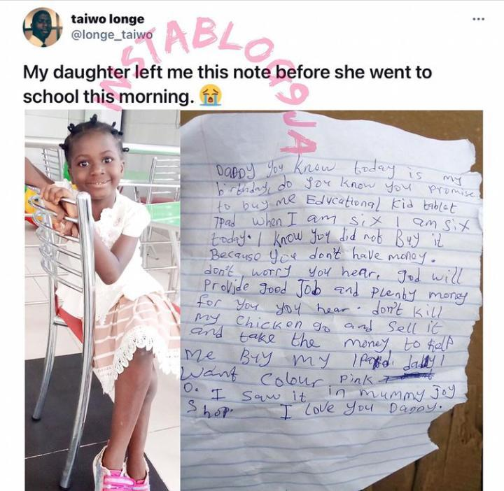 girl writes her father a note