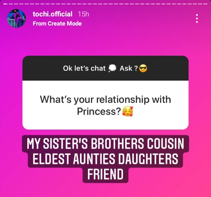 Tochi reacts to dating rumours