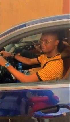 Laycon learns to drive, shows off driving skills in his Benz (Video)