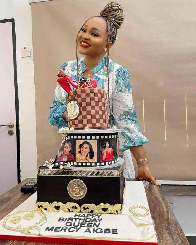 Moment Mercy Aigbe shed tears as colleagues throws her second birthday (Video)