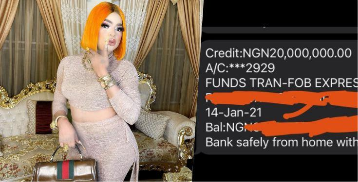 Bobrisky shows off N20M credit alert from sugar daddy