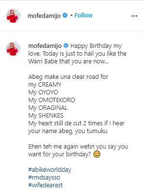Richard Mofe Damijo celebrates wife's birthday with heart melting note