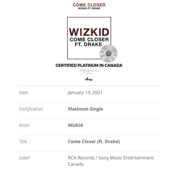 Wizkid goes platinum in Canada