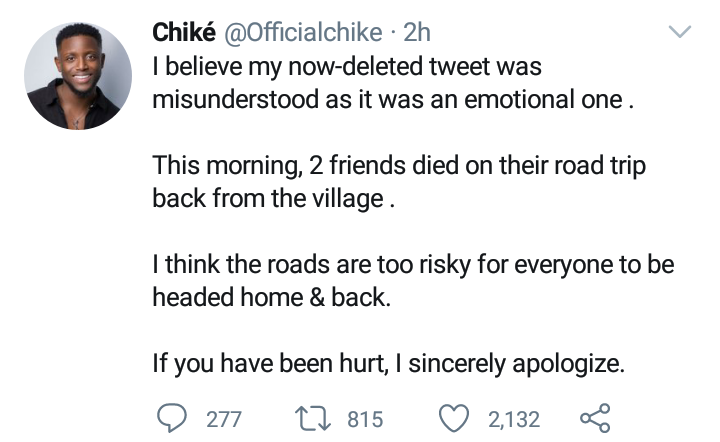 Chike apologizes to Eastern Nigerians