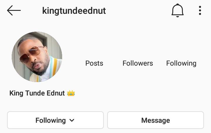 Tunde Ednut Instagram page