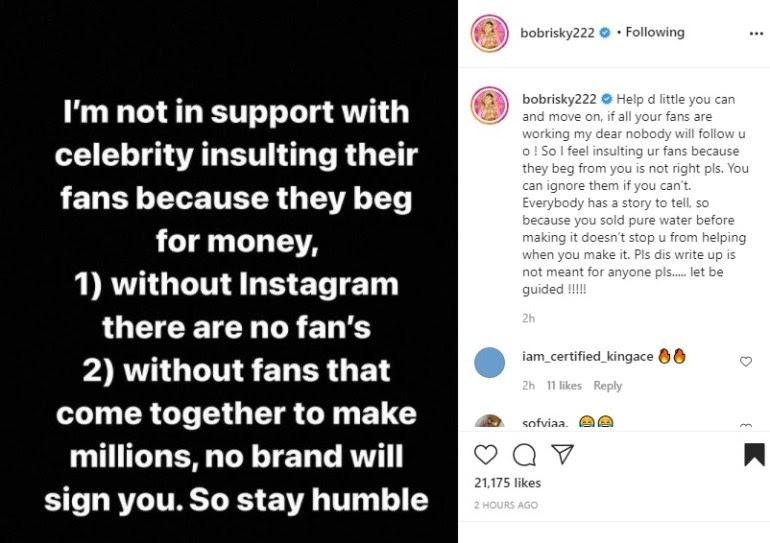 """""""Insulting fans because they beg is not right"""" - Bobrisky throws shade"""