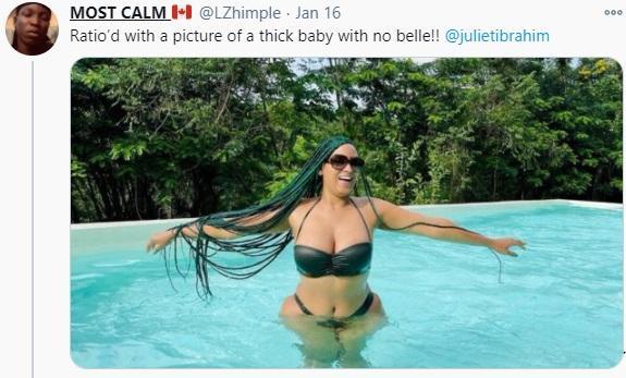 """Stop making women feel less beautiful"" - Juliet Ibrahim blast fan who praised her for having flat stomach"