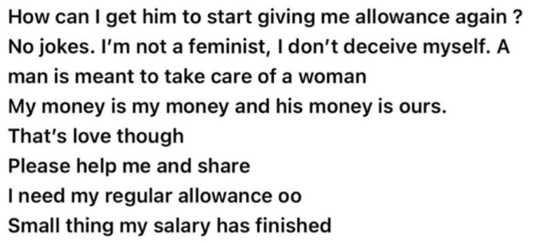 """My boyfriend stopped giving me allowance since I got a job"" - Lady laments"