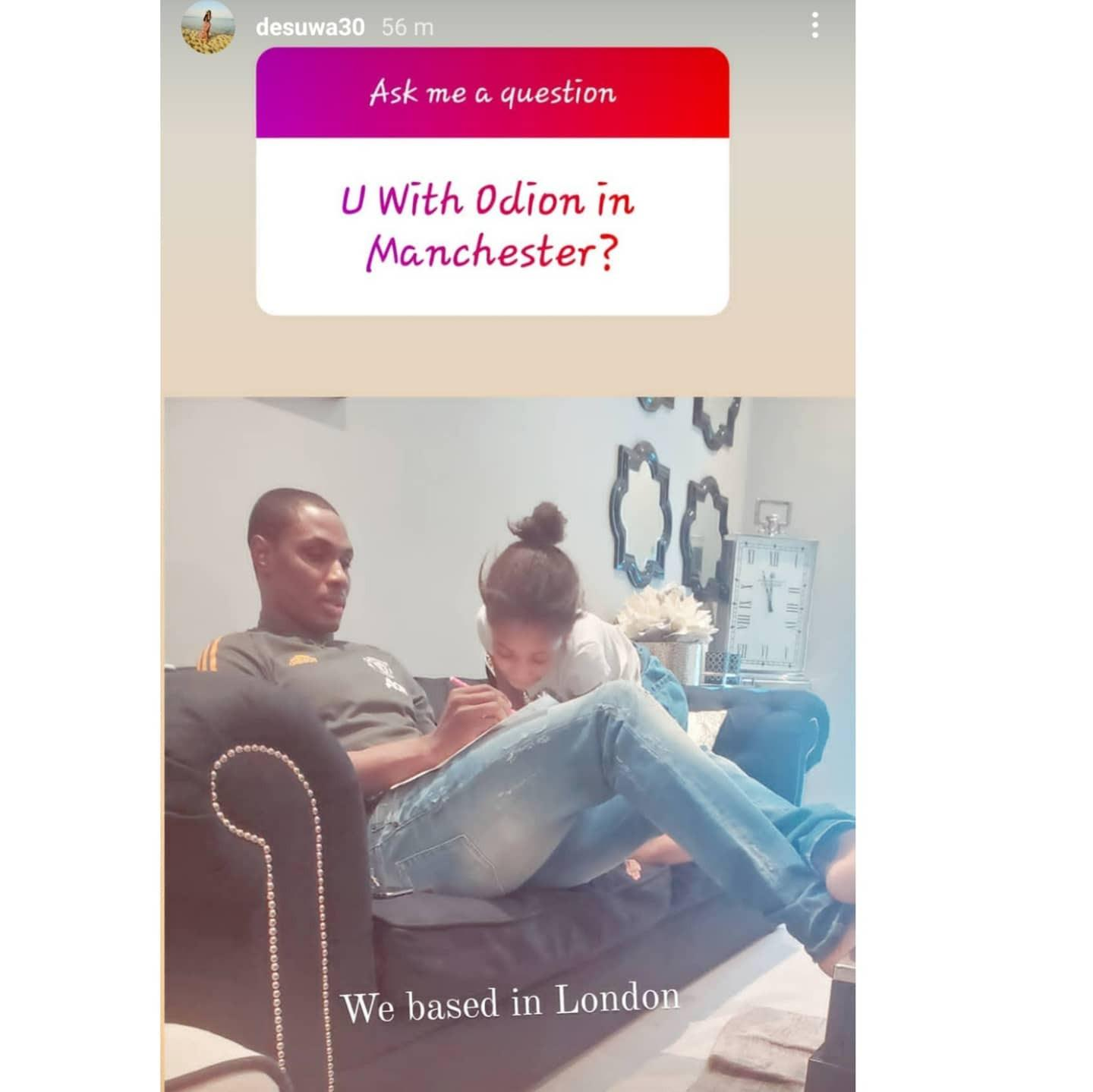 """""""Ask Google or Siri"""" - Odion Ighalo's wife to fans asking about her marital status after changing username"""