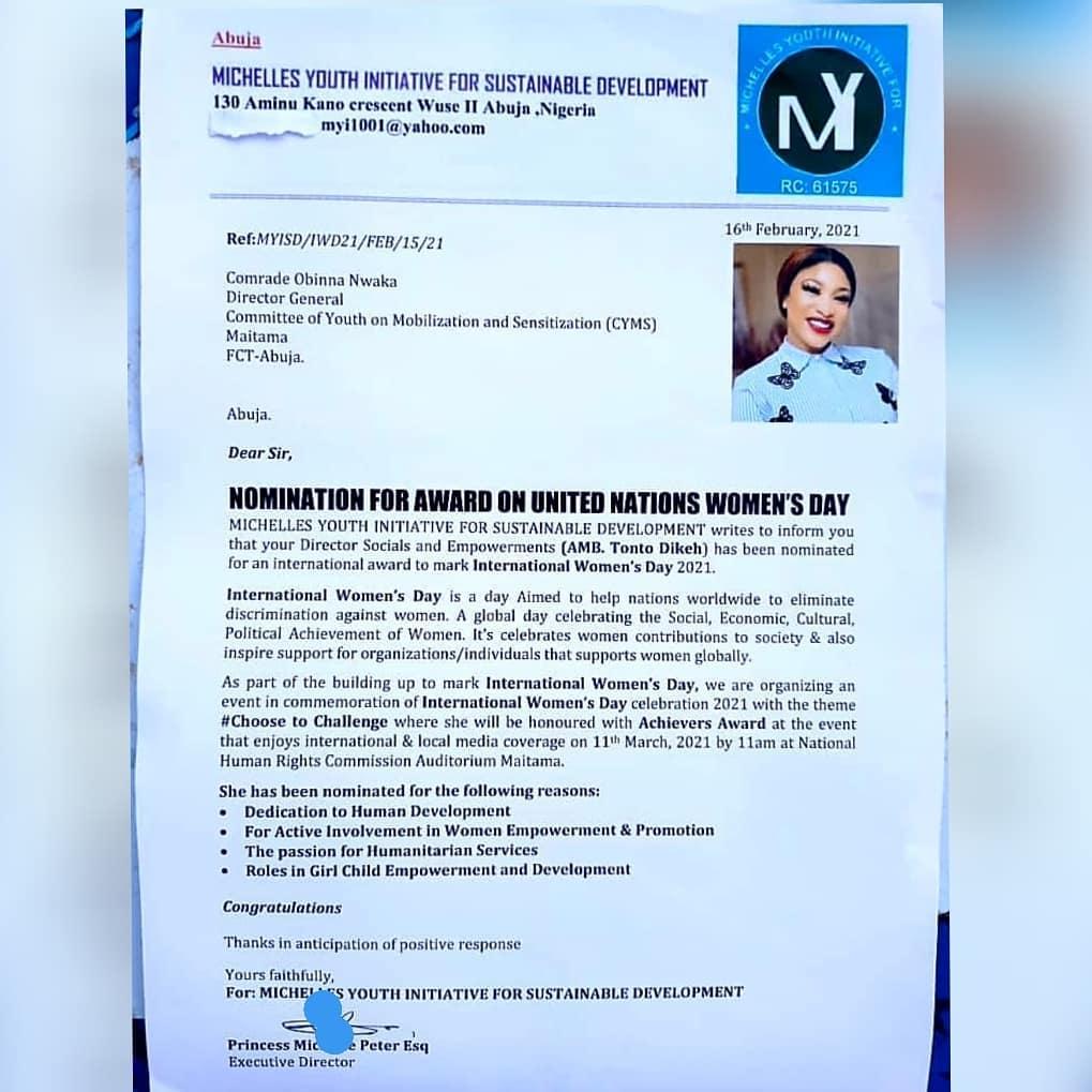 Tonto Dikeh nominated for Achievers Award amidst ex-husband saga