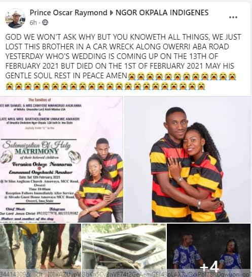 Man dies few days to his wedding