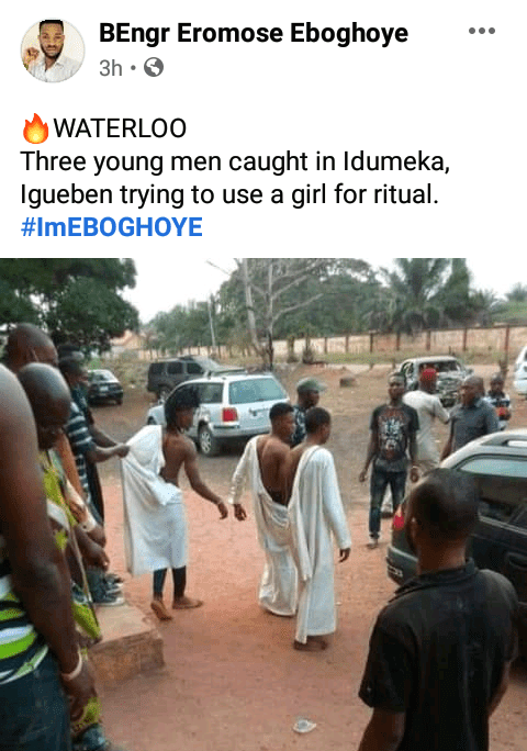 Three suspected Yahoo boys caught attempting to use a lady for ritual in Edo