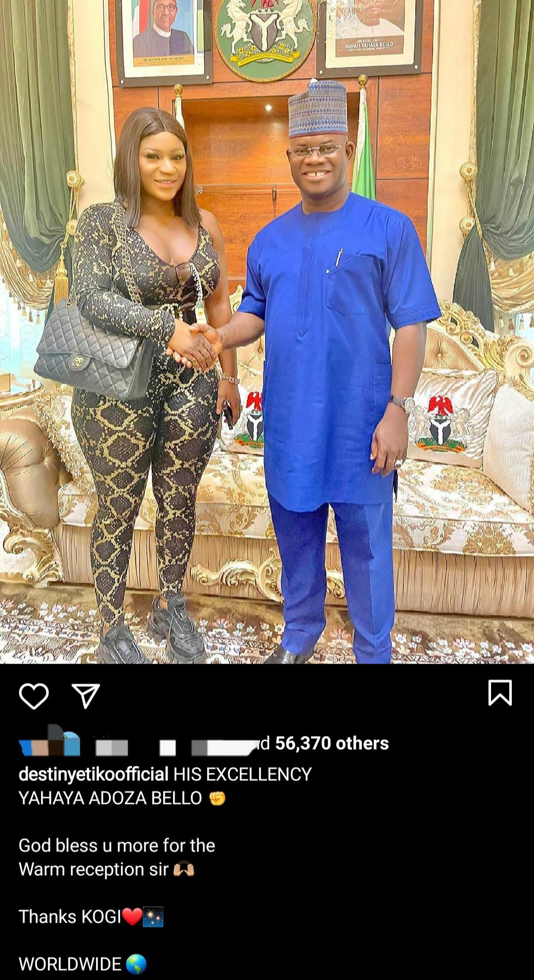 Daddy Freeze reacts to Destiny Etiko's 'seductive' outfit during a visit to Gov Bello