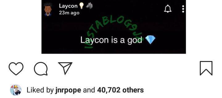 Laycon declares himself a god