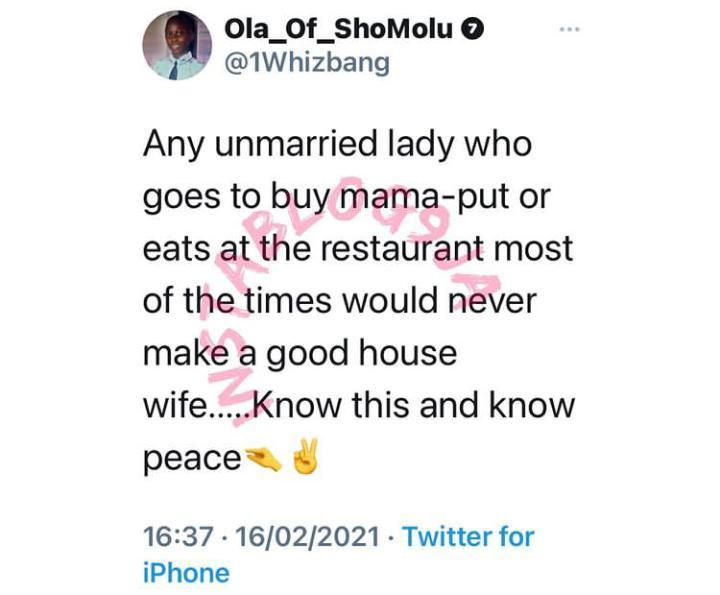 Lady who eats out won't make a good housewife