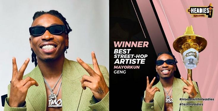Mayorkun wins the 'Best Street-Hop Artiste' award