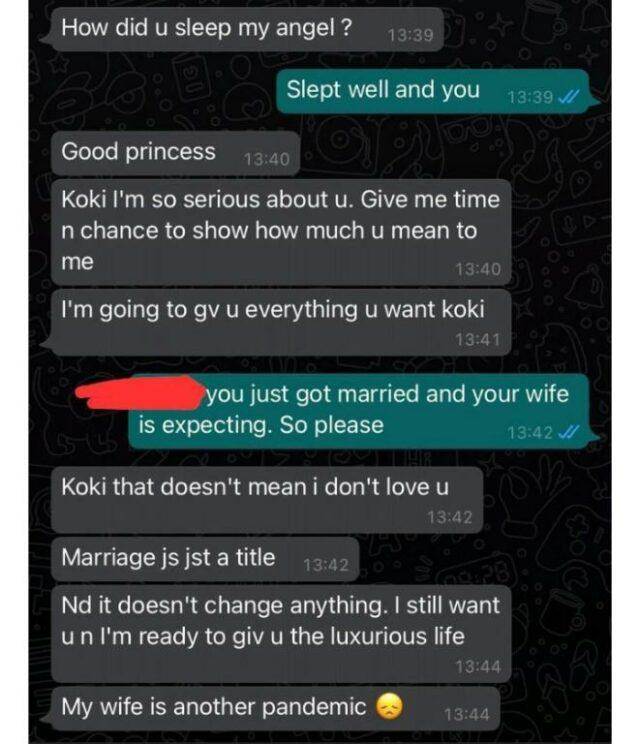 """""""My wife is another pandemic"""" - Lady shares chat of married man wooing her"""