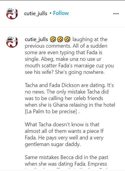 """""""Tacha and Fadda Dickson are dating"""" - Blogger alleges"""