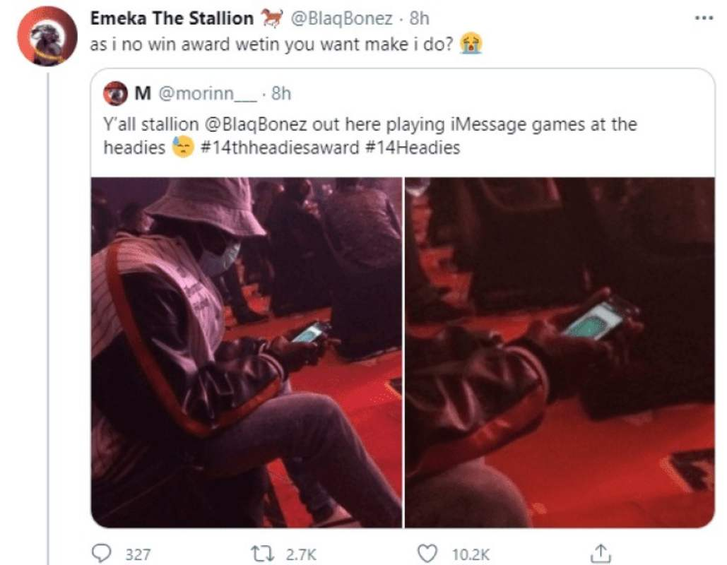 """As I no win nko"" - Blaqbonez reacts after getting called out for playing games during Headies Awards"