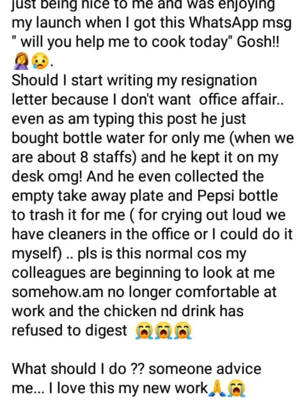 Lady laments after resuming to work on first day as secretary but asked to cook for boss