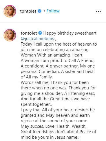 Tonto Dikeh celebrates Churchill's ex-wife, Bimbo Coker on her birthday