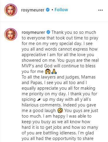 """To the lawyers and judges, thank you for the funny comments"" - Rosy Meurer throws shade"