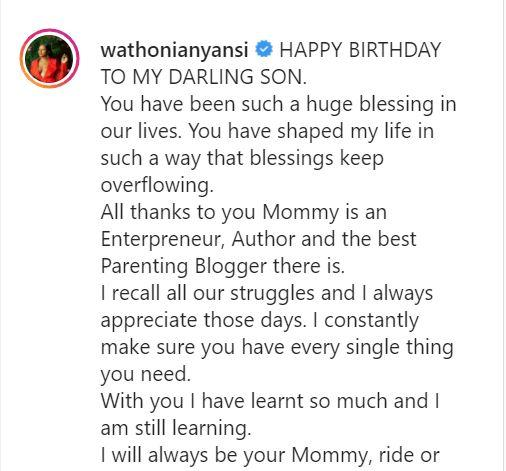 Wathoni celebrates son's 6th birthday with adorable note
