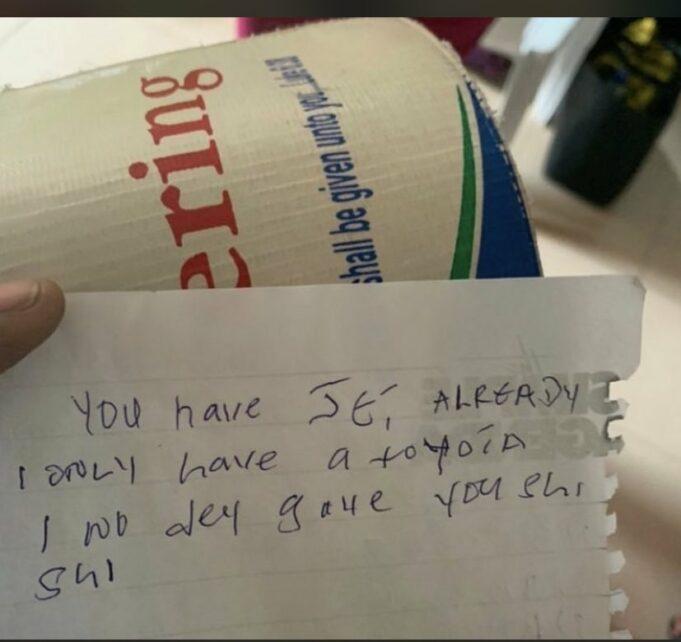 note found inside a church