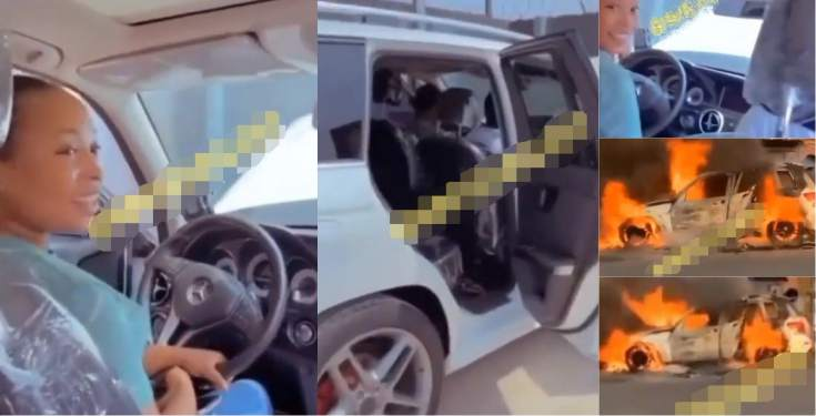 Fire razes lady's N9M Mercedes Benz hours after flaunting it (Video)
