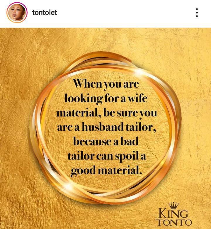 Tonto Dikeh on Wife material