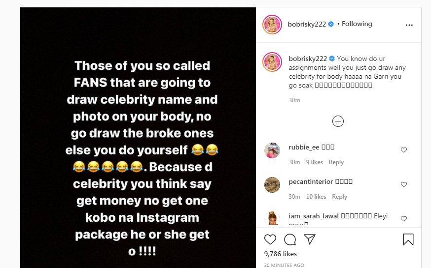 Bobrisky advises fans on tattoo