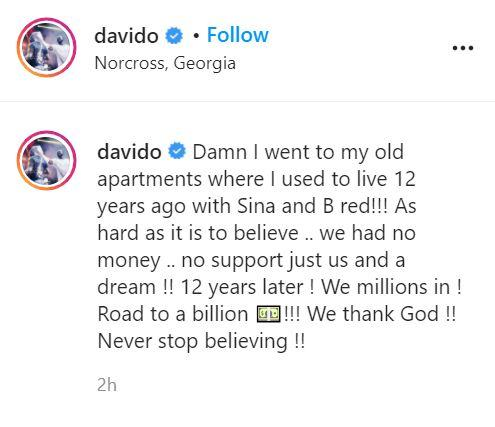 Davido recounts how he was once broke and without support