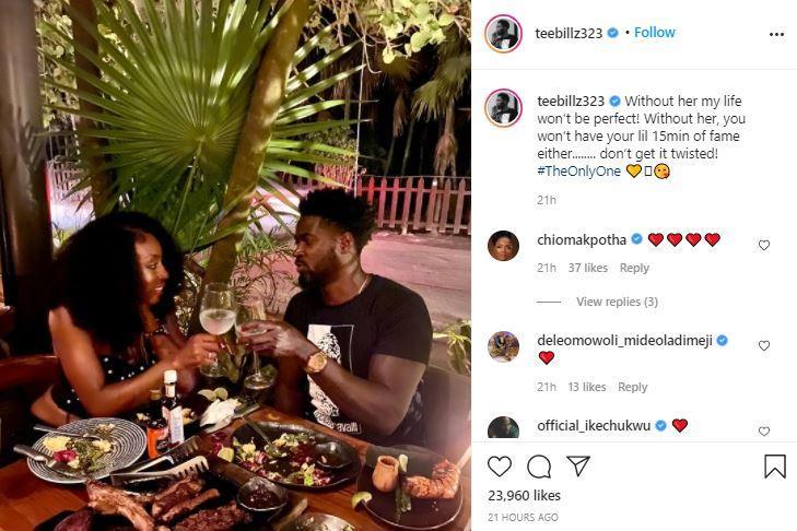 """My healer"" - Tiwa Savage's ex, Teebillz gushes over new woman"