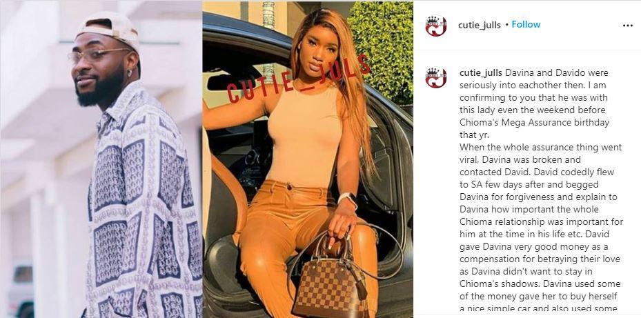 """Davido is fighting to get his ex back over Chioma"" - Blogger reveals shocking details"
