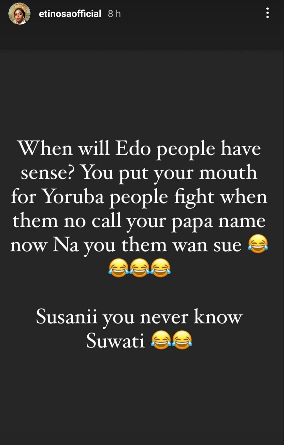 """When will Edo people have sense"" - Etinosa blast Davido's aide over involvement in Dj Cuppy, Zlatan issue"