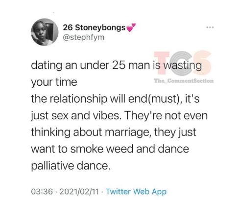 """Dating men below age 25 is time wasting"" - Twitter user sparks debate"