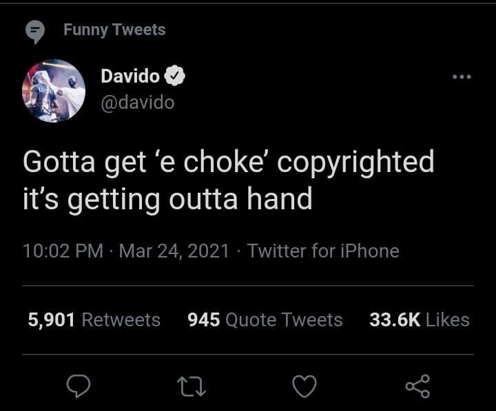 Davido e choke copyrighted