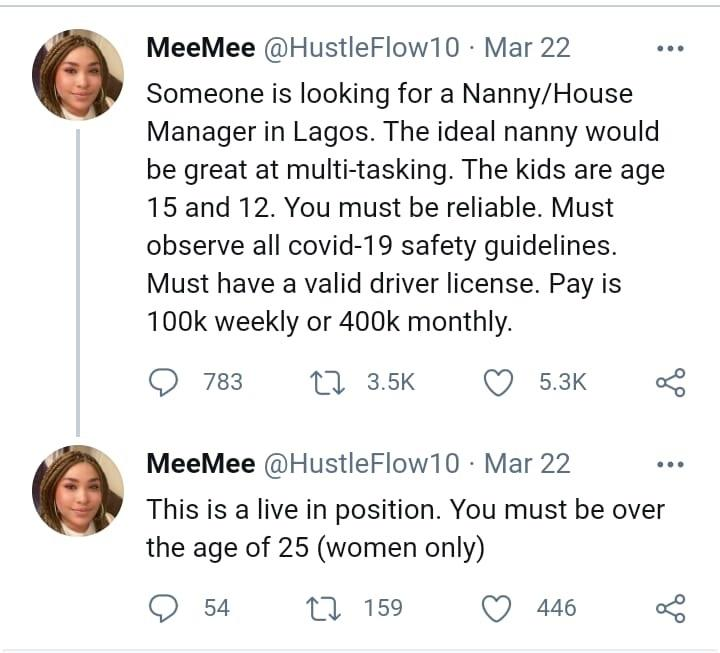 Nanny vacancy salary N400k