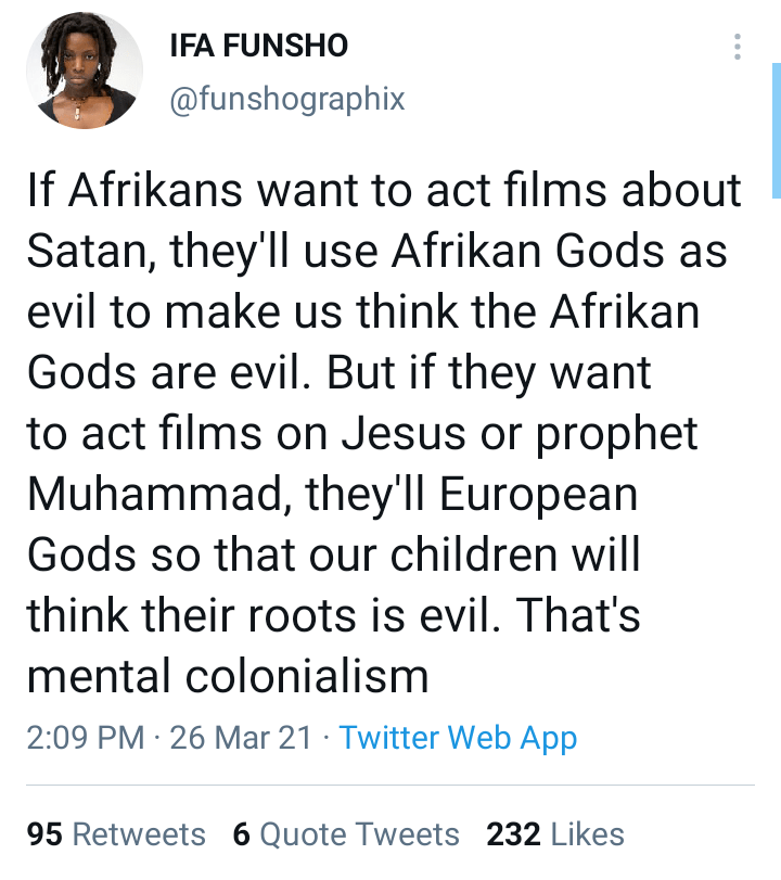 """""""Stop portraying African gods as evil"""" - Traditionalist blasts filmmakers"""