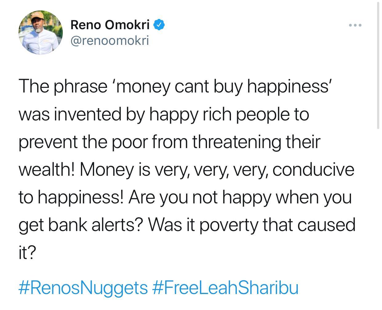 Money happiness Reno Omokiri
