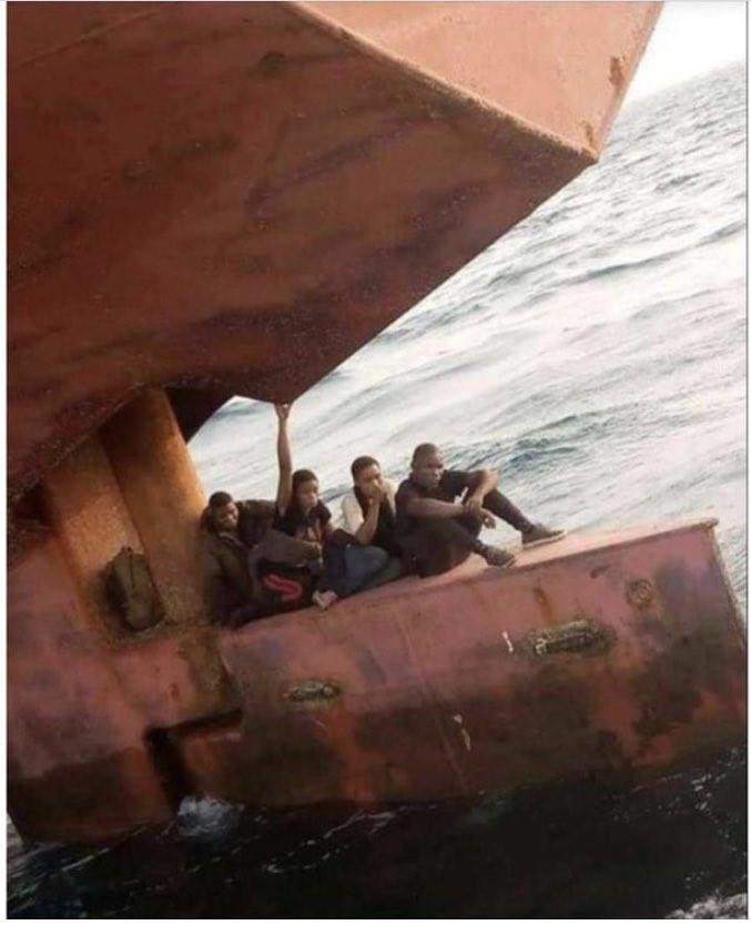 Port authorities nab four Nigerians hiding on rudder of a ship heading for Spain (Video)