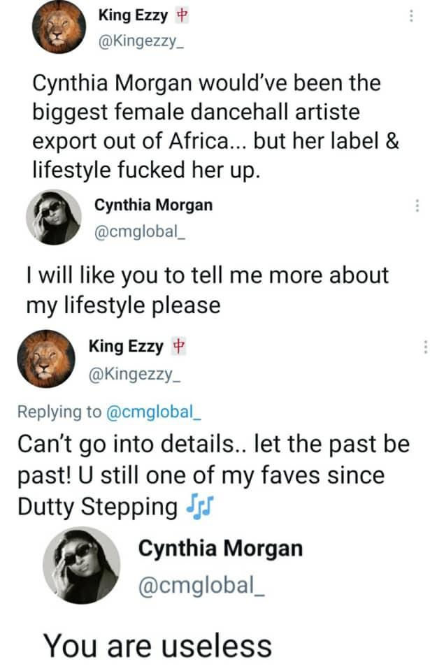 Cynthia Morgan useless career
