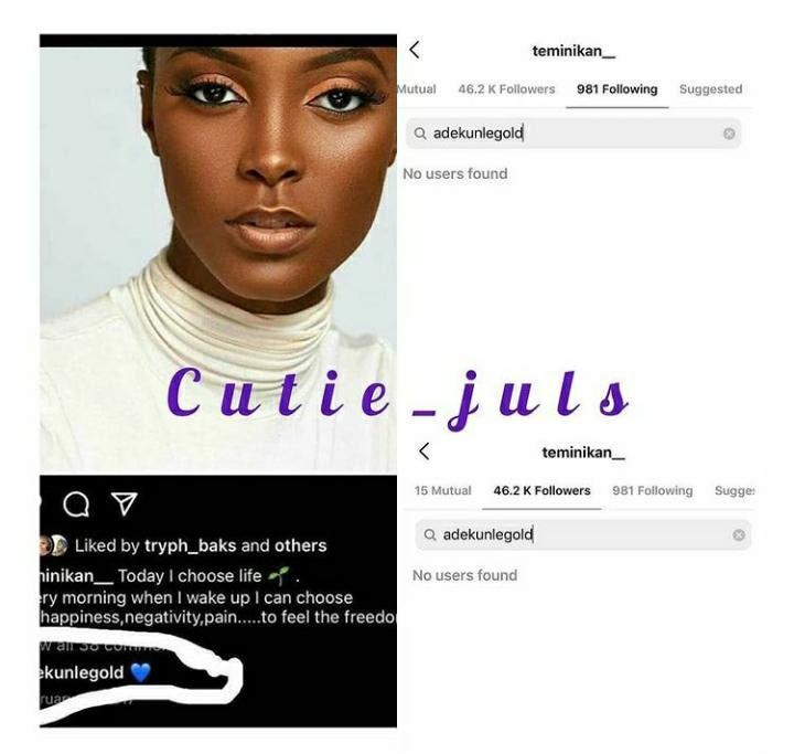 Adekunle Gold and alleged side chick blocks one another on Instagram amid cheating saga