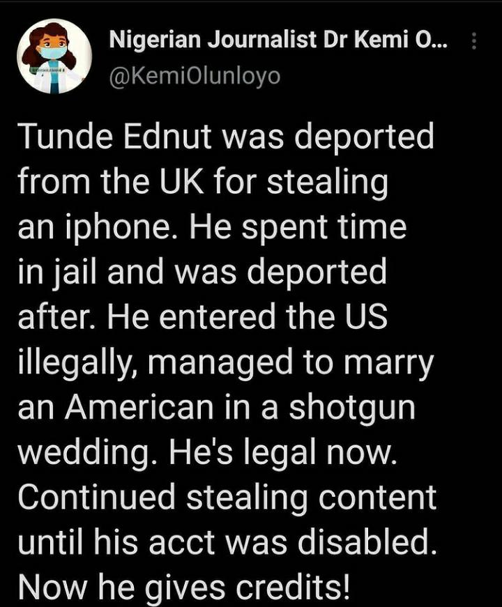 Kemi Olunloyo reveals how Tunde Ednut was jailed, deported from UK for stealing an iPhone
