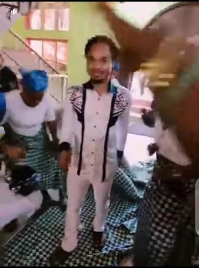 Moment church members chanted praise as Pastor Odumeje walk majestically on women wrappers (Video)