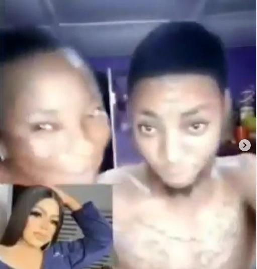 """Please help my son, he tattooed you on his hand"" -  Mother showers support on son after inking tattoo of Bobrisky (Video)"