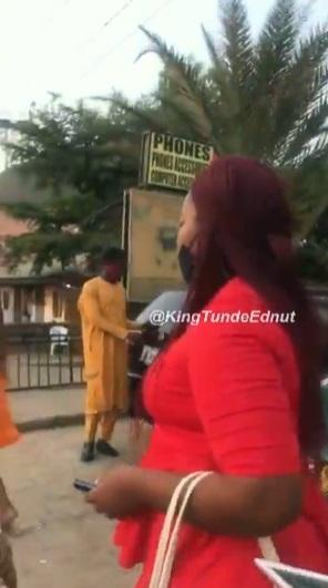 """Leave my husband alone"" -  Woman calls out husband's side chick in public (Video)"