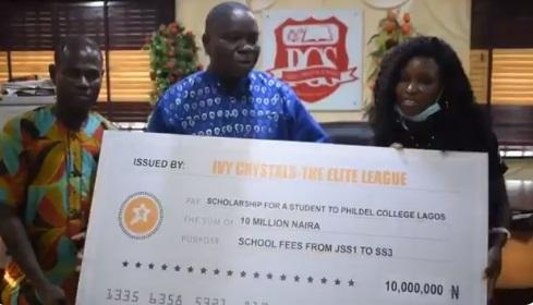 Elites gives N10M scholarship to a student in celebration of Erica's birthday (Video)